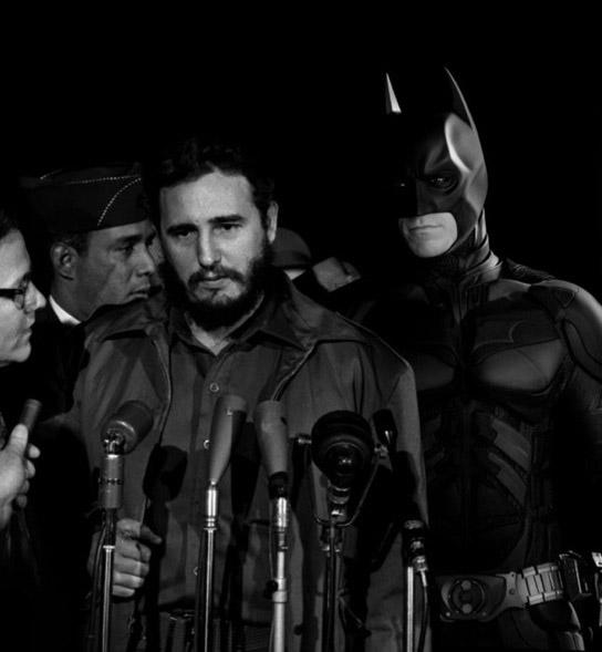 Karya lain Agan dalam serial SUPERHERO - Batman dan Fidel Castro, pemimpin Kuba, dengan konteks tahun 1970an (mymornmet.com)