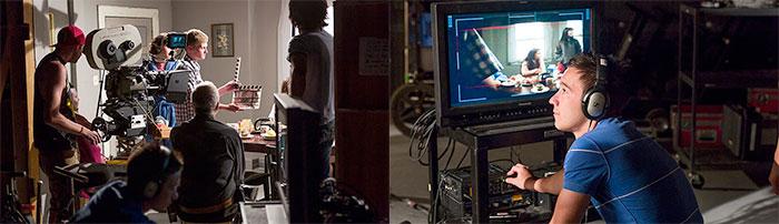 Film adalah hasil kerja sama team. Mahasiswa berbagi peran dalam praktik pembuatan film (foto-foto: Santa Fe University of Art & Design)