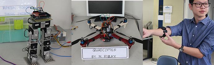Tiga karya mahasiswa jurusan Mechatronics. Dari kiri: robot dua kaki yang bisa menari dan 'split', Quadcopter dengan kendali komputer, dan sensor lengan sebagai pengganti remote controller untuk mengarahkan robot mobil.